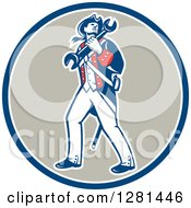 Clipart Of A Retro American Revolutionary Patriot Soldier Mechanic Walking With A Spanner Wrench In A Blue White And Taupe Circle Royalty Free Vector Illustration