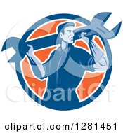 Clipart Of A Retro Male Mechanic With A Giant Wrench On His Shoulders In A Blue White And Orange Circle Royalty Free Vector Illustration