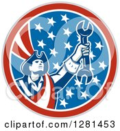 Clipart Of A Retro American Revolutionary Patriot Soldier Mechanic Holding A Spanner Wrench In A Patriotic Circle Royalty Free Vector Illustration