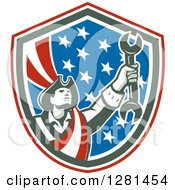 Clipart Of A Retro American Revolutionary Patriot Soldier Mechanic Holding A Spanner Wrench In A Patriotic Shield Royalty Free Vector Illustration