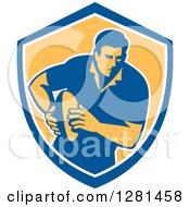 Clipart Of A Retro Male Rugby Player Running In A Blue White And Yellow Shield Royalty Free Vector Illustration
