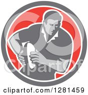 Clipart Of A Retro Male Rugby Player Running In A Gray White And Red Circle Royalty Free Vector Illustration