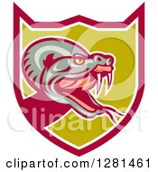 Clipart Of A Retro Rattlesnake Attacking In A Pink White And Green Shield Royalty Free Vector Illustration