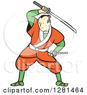 Clipart Of A Cartoon Samurai Warrior Fighting With A Sword Royalty Free Vector Illustration by patrimonio