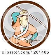 Cartoon Samurai Warrior Fighting With A Sword In A Brown White And Gray Circle