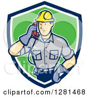 Clipart Of A Cartoon Telephone Repair Man Listening To A Receiver In A Blue White And Green Shield Royalty Free Vector Illustration