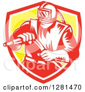 Clipart Of A Retro Woodcut Sandblaster Worker In A Red White And Yellow Shield Royalty Free Vector Illustration by patrimonio