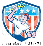 Happy Cartoon Male Electrician Holding A Lightning Bolt In An American Themed Shield