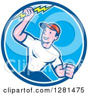 Happy Cartoon Male Electrician Holding A Lightning Bolt In A Blue And White Circle