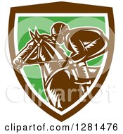 Clipart Of A Retro Woodcut Horse Racing Jockey In A Brown White And Green Shield Royalty Free Vector Illustration