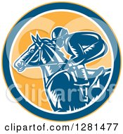 Clipart Of A Retro Woodcut Horse Racing Jockey In A Yellow Blue And White Circle Royalty Free Vector Illustration