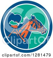 Clipart Of A Retro Horse Racing Jockey In A Blue White And Turquoise Circle Royalty Free Vector Illustration