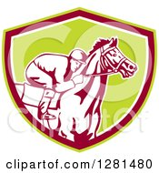 Clipart Of A Retro Horse Racing Jockey In A Green Brown And White Shield Royalty Free Vector Illustration