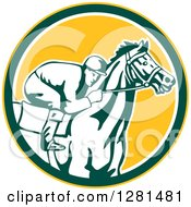 Clipart Of A Retro Horse Racing Jockey In A Yellow Green And White Circle Royalty Free Vector Illustration