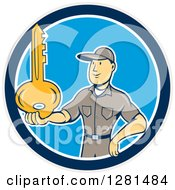 Cartoon Caucasian Male Locksmith Holding Out A Giant Gold Key In A Blue Taupe And White Circle