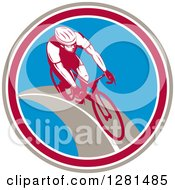 Clipart Of A Retro Male Cyclist In A Taupe Maroon White And Blue Circle Royalty Free Vector Illustration