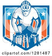 Clipart Of A Retro Male Cyclist In An American Flag Shield Banner Royalty Free Vector Illustration