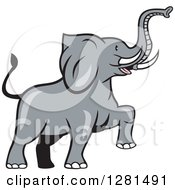 Clipart Of A Cartoon Marching Elephant Royalty Free Vector Illustration