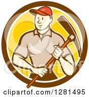 Retro Cartoon Male Construction Worker Holding A Pickaxe In A Brown White And Yellow Circle