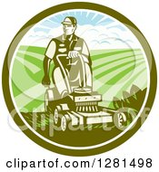 Clipart Of A Retro Woodcut Landscaper Mowing A Lawn With Farmland In A Green And White Circle Royalty Free Vector Illustration