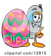Clipart Picture Of A Wireless Cellular Telephone Mascot Cartoon Character Standing Beside An Easter Egg by Toons4Biz