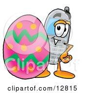 Wireless Cellular Telephone Mascot Cartoon Character Standing Beside An Easter Egg