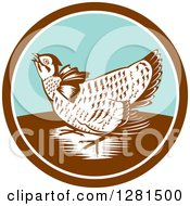 Clipart Of A Retro Woodcut Greater Prairie Chicken In A Brown White And Turquoise Circle Royalty Free Vector Illustration