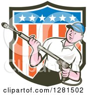Clipart Of A Cartoon Male Pressure Washer Emerging From An American Shield Royalty Free Vector Illustration