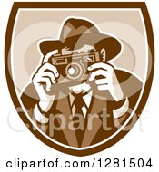 Clipart Of A Retro Male Photographer Or Detective Taking Pictures In A Brown And White Shield Royalty Free Vector Illustration by patrimonio