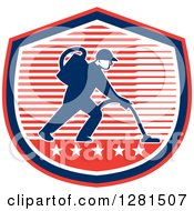Clipart Of A Male Janitor Operating A Carpet Cleaner Over A Red White And Blue Stripes And Stars Shield Royalty Free Vector Illustration