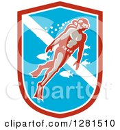 Clipart Of A Retro Male Scuba Diver With Fish In A Red White And Blue Shield Royalty Free Vector Illustration