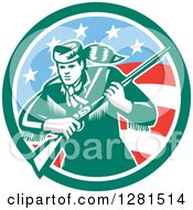 Clipart Of A Retro American Frontiersman Daniel Boone Holding A Rifle In A Green And American Circle Royalty Free Vector Illustration