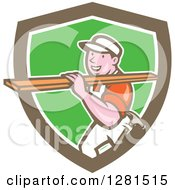 Retro Cartoon Male Carpenter Carrying Lumber In A Brown White And Green Shield