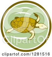 Clipart Of A Retro Swimming Sea Turtle In A Green And White Circle Royalty Free Vector Illustration by patrimonio