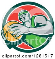 Clipart Of A Retro Black Male Basketball Player Holding A Ball In A Green White And Red Circle Royalty Free Vector Illustration