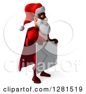 Clipart Of A 3d Super Hero Santa Facing Right And Holding A Giant Envelope Royalty Free Illustration