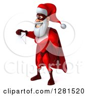Clipart Of A 3d Super Hero Santa Facing Left And Holding Out An Envelope Royalty Free Illustration