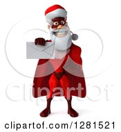 Clipart Of A 3d Super Hero Santa Holding Out An Envelope Royalty Free Illustration