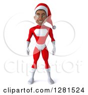 Clipart Of A 3d Young Black Male Christmas Super Hero Santa Royalty Free Illustration by Julos