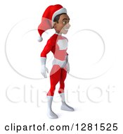 3d Young Black Male Christmas Super Hero Santa Facing Right