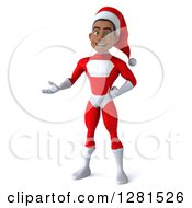 3d Young Black Male Christmas Super Hero Santa Presenting To The Left