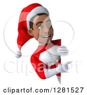 3d Young Black Male Christmas Super Hero Santa Pointing Around A Sign
