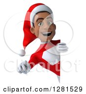 3d Young Black Male Christmas Super Hero Santa Pointing Outwards Around A Sign
