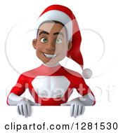 3d Young Black Male Christmas Super Hero Santa Smiling Over A Sign