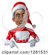 3d Young Black Male Christmas Super Hero Santa Pointing Down Over A Sign