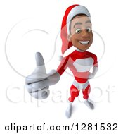 3d Happy Young Black Male Christmas Super Hero Santa Holding Up A Thumb