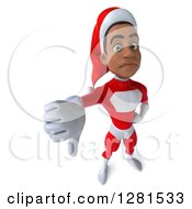 3d Unhappy Young Black Male Christmas Super Hero Santa Holding Up A Thumb Down