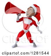 Clipart Of A 3d Young Black Male Christmas Super Hero Santa Announcing With A Megaphone Royalty Free Illustration by Julos