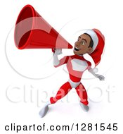 Clipart Of A 3d Young Black Male Christmas Super Hero Santa Announcing Upwards With A Megaphone Royalty Free Illustration by Julos