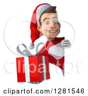 3d Young White Male Super Hero Santa Holding A Christmas Gift Around A Sign